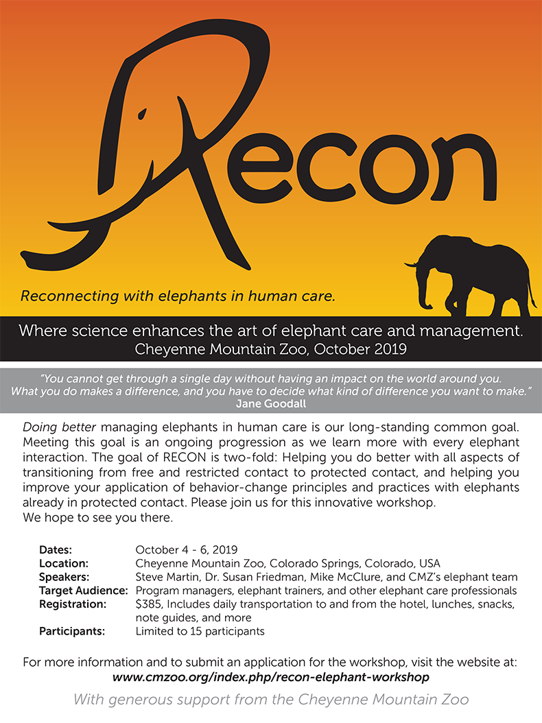 RECON elephant workshop information and graphics