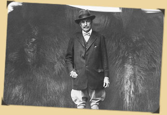 Spencer Penrose photo standing in front of animal hide
