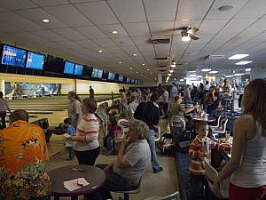 Bowling for Rhinos AAZK fundraiser scene at bowling alley