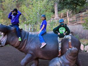 Kids on hippo sculptures at starlight safari evening